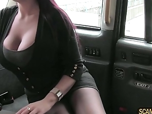 Big tits lady enjoys missionary position banged in taxi