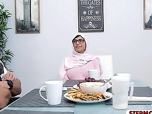 Arab stepmom together with teen amazing triplet