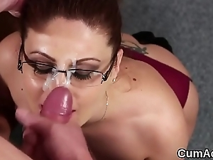 Peculiar stunner gets sperm load on her face engulfing all the ejaculate