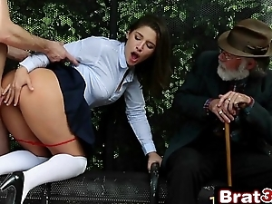 Naughty School-girl Abella Danger Gives Non-native Blowjob in Front of Her Grandpa
