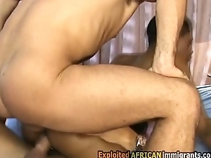 Pounding a bonny black immigrant roughly her ass and pussy