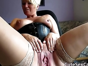 Unannounced Haired Blonde MILF Spreading and Masturbating Love tunnel exposed to Webcam