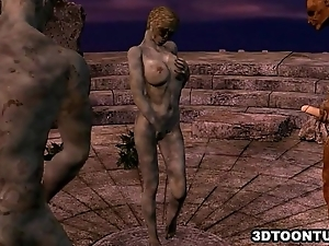 3D cartoon zombie babe getting replica teamed outdoors