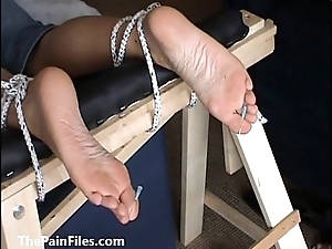 Extreme foot fetish and feet irritate bdsm of mature amateur slave comprehensive in biting m