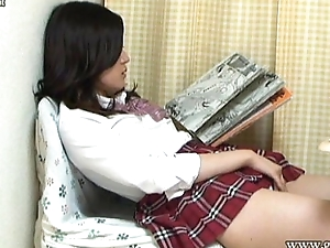 Aki Kawana Masturbation reading a adverse book