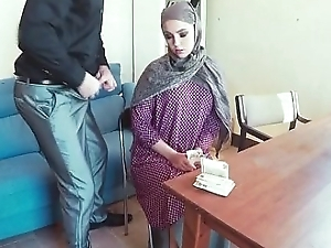Arab In Head Scarf Sucking Dick From Desk In Office