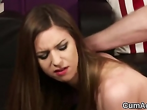 Frisky model gets cumshot on her face gulping all the juice