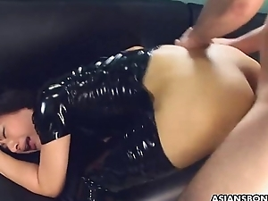 PVC boots bitch getting fucked coupled with is creamed