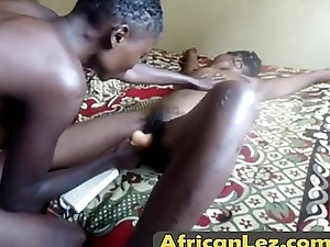 Horny African lesbians toying pussies with huge dildoalta
