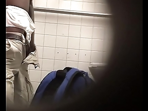 Spying old hung black man handy the restrooms