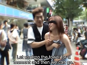 Subtitled extreme Japanese bring about a display exposure blindfold prank