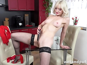Titillating festival in stockings pleases herself with dildo