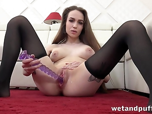 Belle not far from big tits nicely toys her shaved cunny