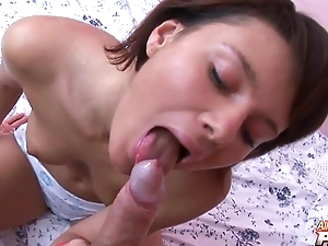 Bonny meritorious young goddess blows immense penis in POV