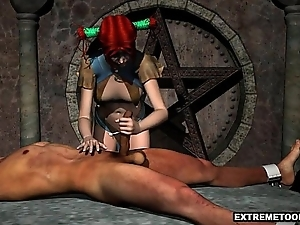 Tied Everywhere Stud Gets Sucked off away from a 3D Redhead