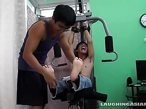 Asian Brat Argie Tickled On The Gym