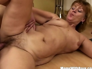 Hairy Cum-hole Mama Fucked Unconnected with Young Teen Intensely