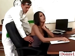 Donny Long gives cute super hot huge teat secretary their way first big cock