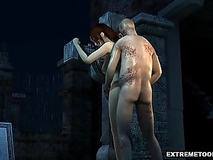 Sexy 3D Babe Drilled in a Graveyard by a Zombie